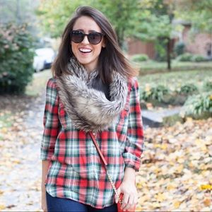 J. Crew Factory | Red Plaid Flannel Popover Shirt